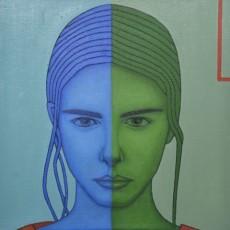 Blau und Grün 1, 2020, Oil auf Leinwand, 50x50 cm