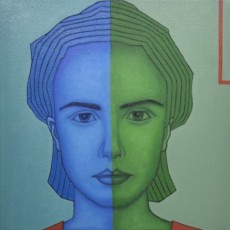 Blau und Grün 4, 2020, Oil auf Leinwand, 50x50 cm