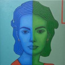 Blau und Grün 2, 2020, Oil auf Leinwand, 50x50 cm
