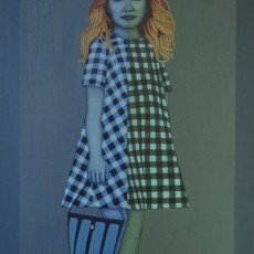 Girl with a Blue Bag, 2019, Oil on canvas, 140x100 cm